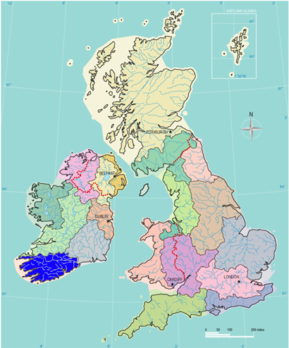 WFD - River Basin Districts in the UK and  Ireland